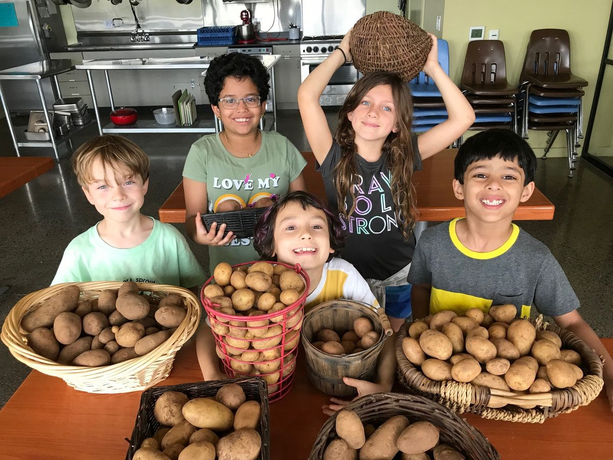 children show the potatoes they have harvested